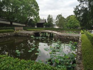 思遠池から三門を望む